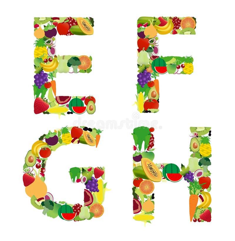 Bokstav för alfabet för för vektorillustrationfrukt och grönsak stock illustrationer