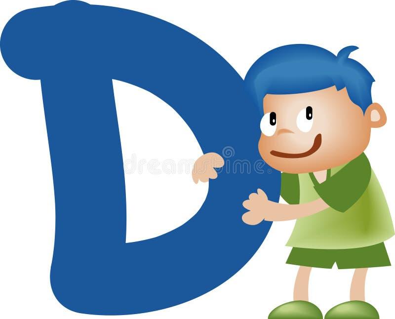 bokstav för alfabetpojke D royaltyfri illustrationer