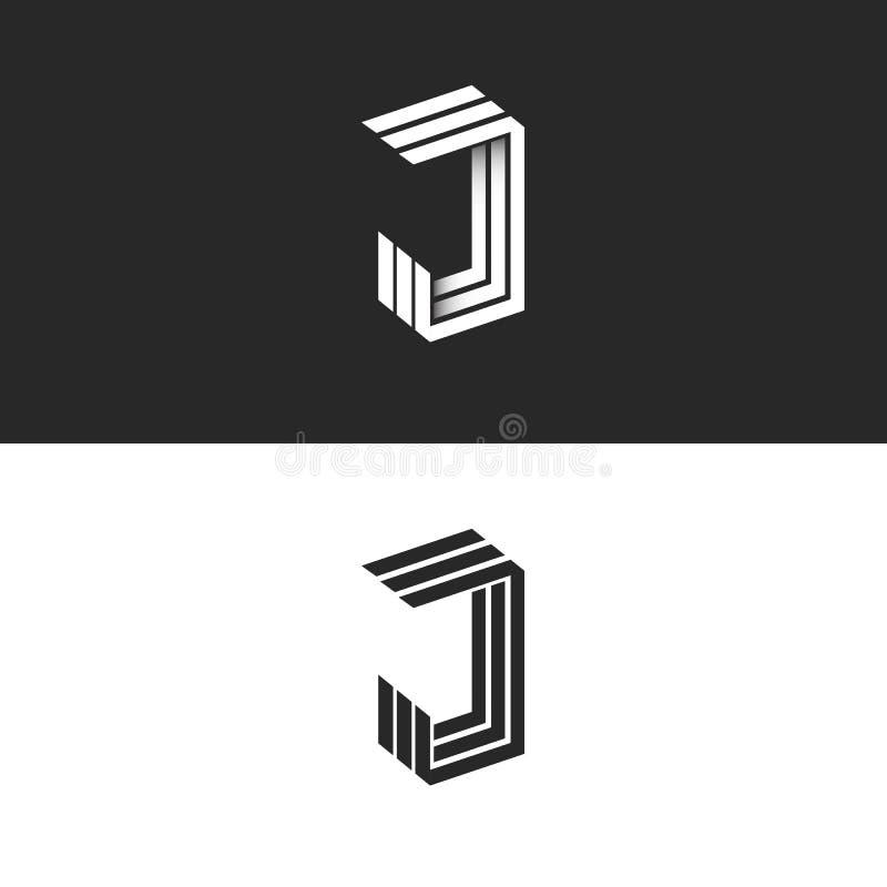 Bokstav för logo J i den isometriska initiala monogrammet, svartvit 3d geometrisk linje form med skugga JJJ-perspektivemblem stock illustrationer