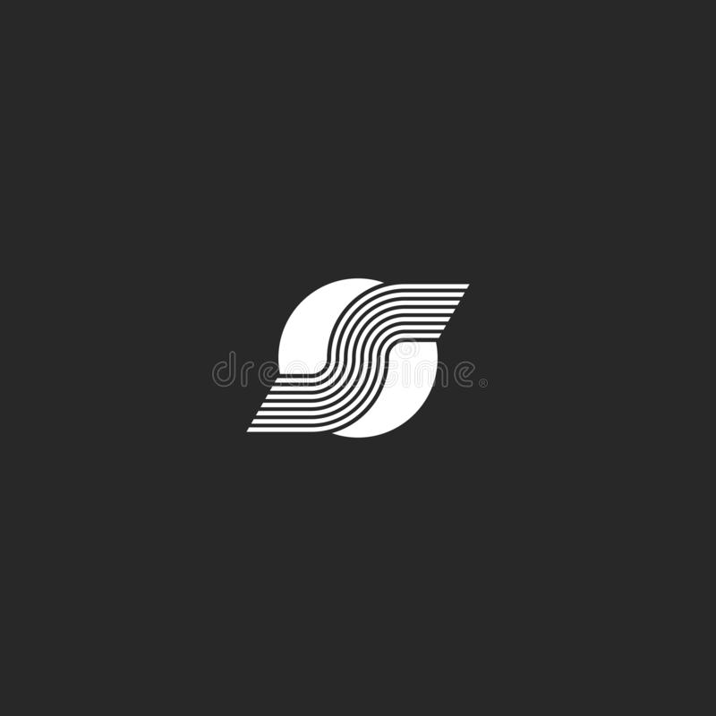 Bokstav för logo S på för stilidentitet för vit cirkel det minsta emblemet för rund form, idérikt techsymbol royaltyfri illustrationer