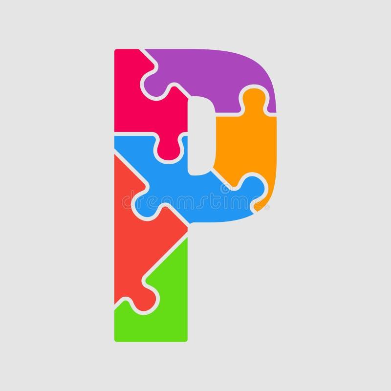 Bokstav för vektorpusselstycke - P Figursågstilsortsform stock illustrationer