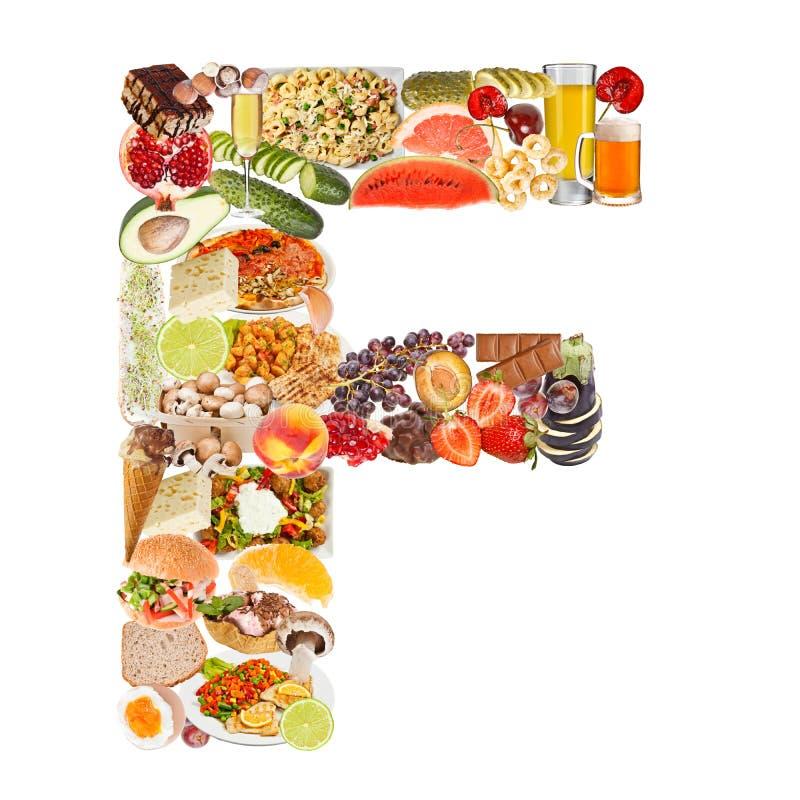 Bokstav F som göras av mat arkivbild
