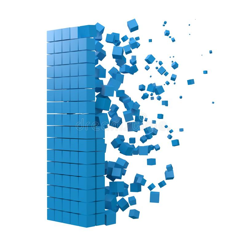 Bokstav I formade datakvarteret version med blåa kuber f?r stilvektor f?r PIXEL 3d illustration stock illustrationer