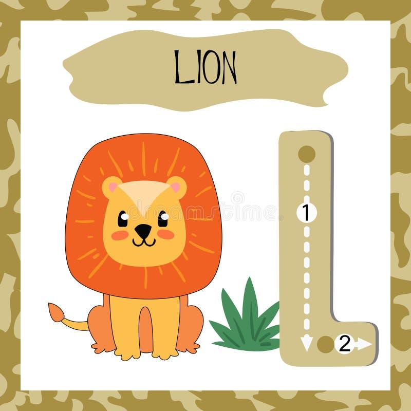 Bokstav L för engelskt alfabet för att undervisande barn ska läsa royaltyfri illustrationer
