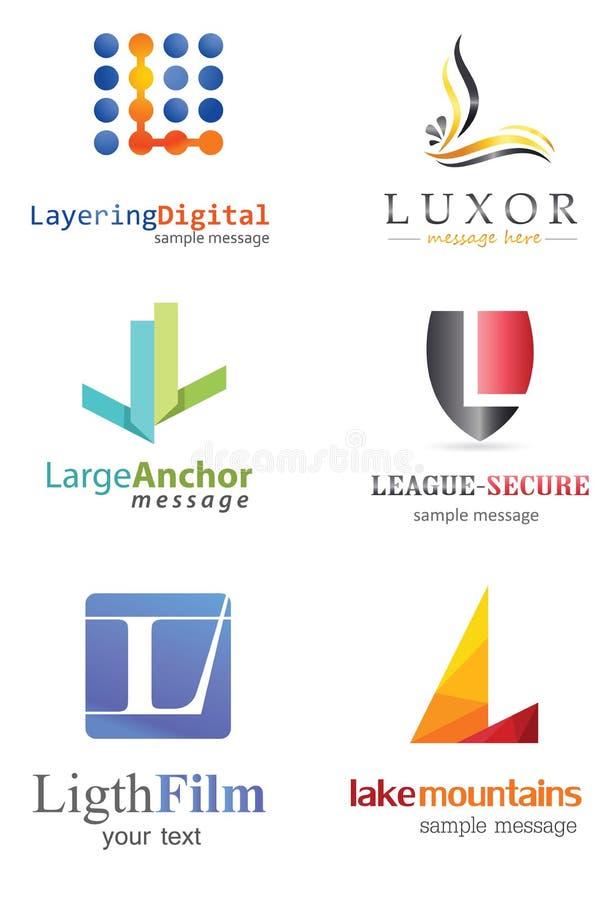 Bokstav L logo stock illustrationer