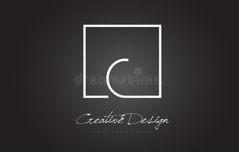 Bokstav Logo Design för c-fyrkantram med svartvita färger stock illustrationer