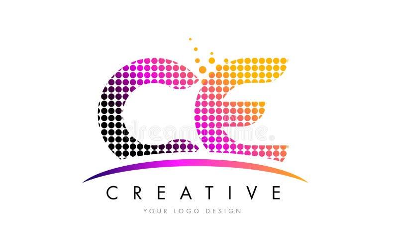 Bokstav Logo Design för CE C E med magentafärgade prickar och Swoosh royaltyfri illustrationer