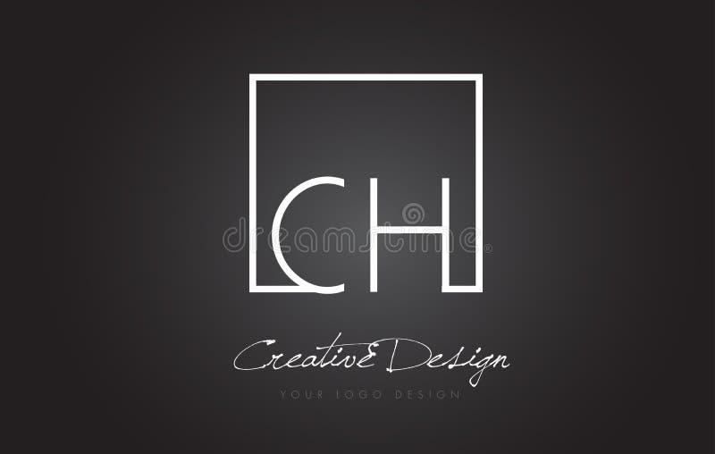 Bokstav Logo Design för CH-fyrkantram med svartvita färger vektor illustrationer