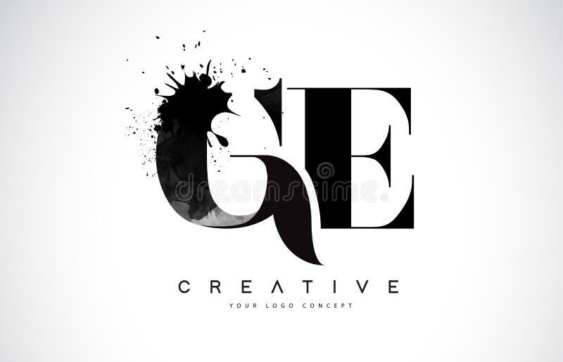 Bokstav Logo Design för GE G E med det svarta spillet för färgpulvervattenfärgfärgstänk stock illustrationer
