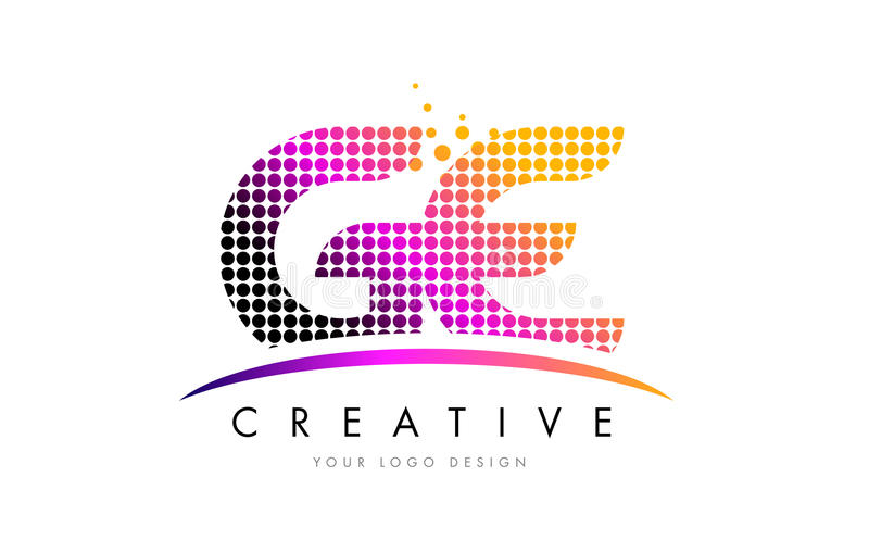 Bokstav Logo Design för GE G E med magentafärgade prickar och Swoosh stock illustrationer