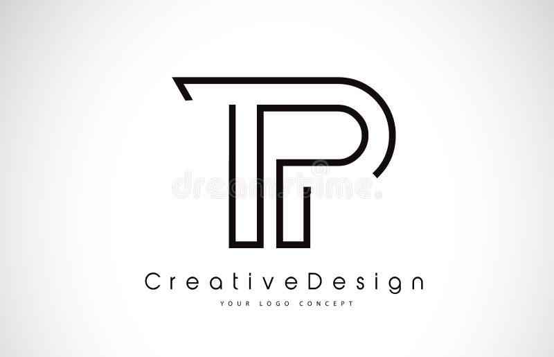Bokstav Logo Design för TP T P i svarta färger vektor illustrationer