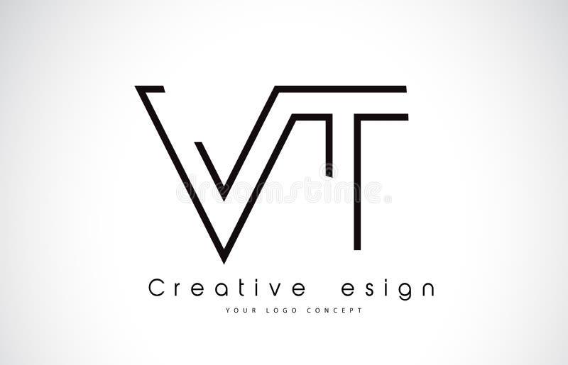 Bokstav Logo Design för VT V T i svarta färger royaltyfri illustrationer