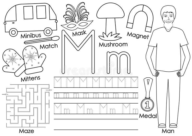 bokstav M alfabet Ingen festligheter Skriva övning och färg stock illustrationer