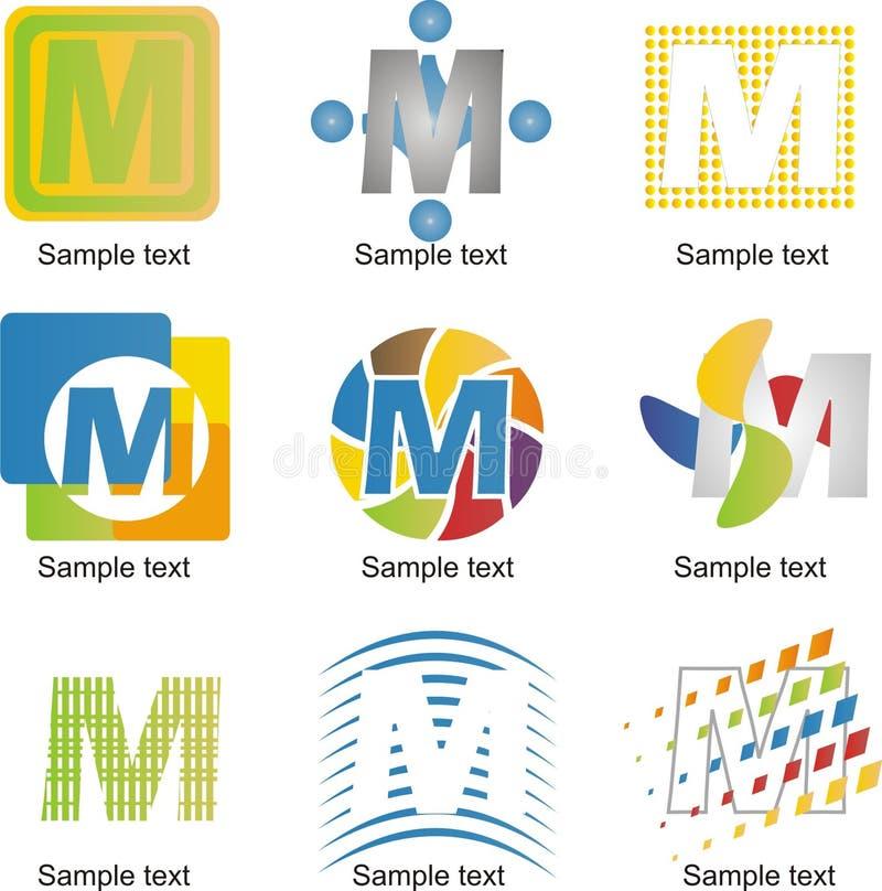 Bokstav M Logo royaltyfri illustrationer