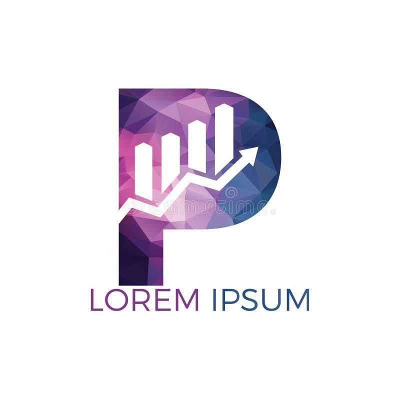 Bokstav P med design för logo för affär för pilinitialnamn Id?rikt symbolbegrepp f?r tillv?xt stock illustrationer