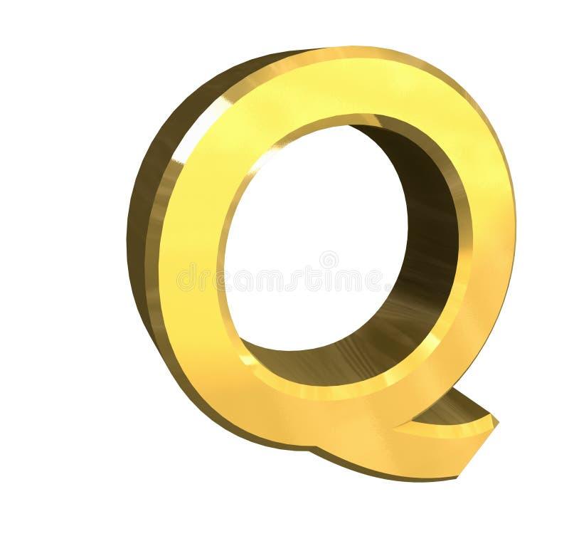 bokstav q för guld 3d vektor illustrationer