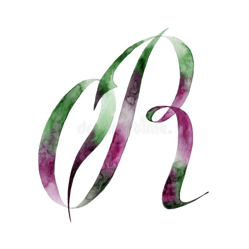 bokstav r grupper som tecknar spolning för vattenfärg för blomningflodtrees abstrakt fläckar för objektbana för bakgrund clipping stock illustrationer