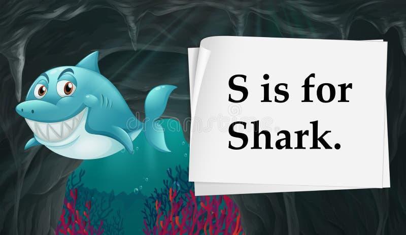 Bokstav S är för haj stock illustrationer