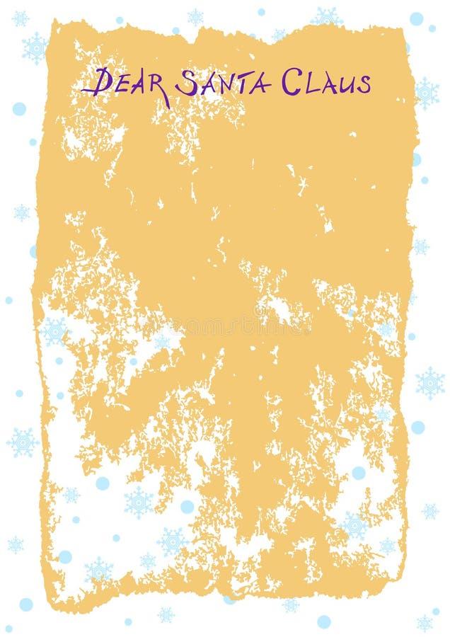 Bokstav till Santa Claus på gammalt papper med titeln kära Santa Claus vektor Tappning stock illustrationer