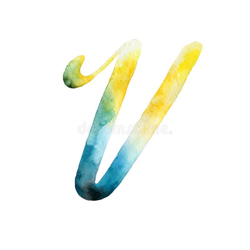 bokstav v grupper som tecknar spolning för vattenfärg för blomningflodtrees abstrakt fläckar för objektbana för bakgrund clipping royaltyfri illustrationer