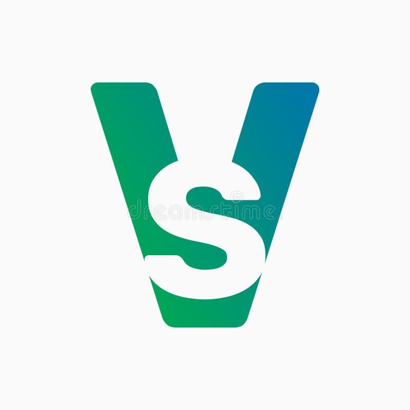 Bokstav vs, företagslogo, vektorfärgsymbol royaltyfri illustrationer