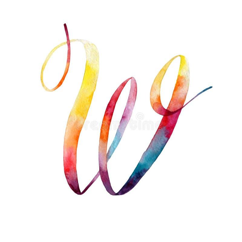 bokstav w grupper som tecknar spolning för vattenfärg för blomningflodtrees abstrakt fläckar för objektbana för bakgrund clipping vektor illustrationer
