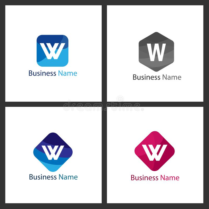 Bokstav W Logo Set vektor illustrationer