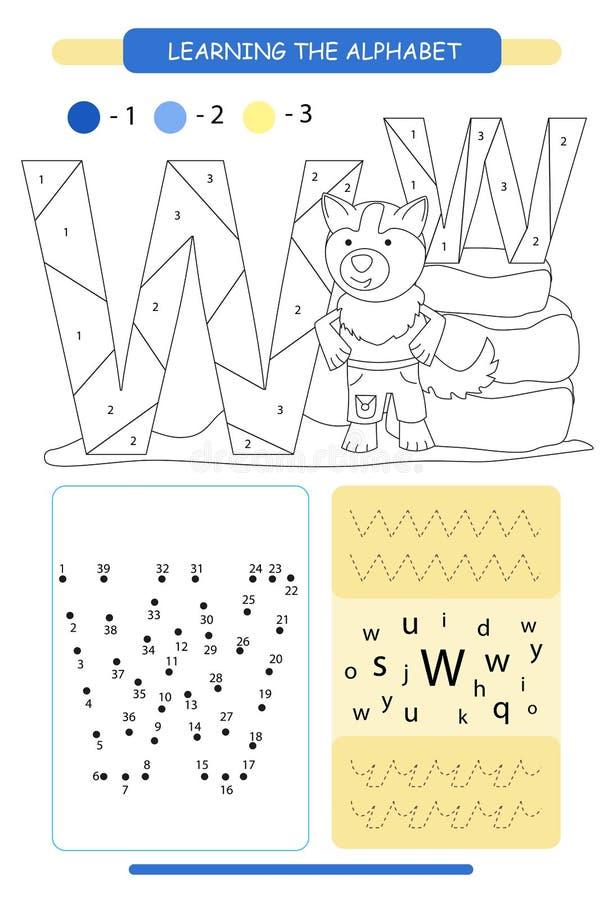 Bokstav W och rolig tecknad filmvarg Djuralfabeta-z F?rga sidan Tryckbar arbetssedel handskrift?vning f?rbind prickar stock illustrationer