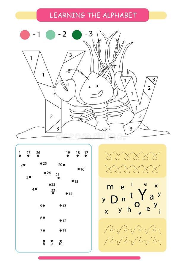 Bokstav Y och yabby rolig tecknad film Djuralfabeta-z F?rga sidan Tryckbar arbetssedel handskrift?vning f?rbind prickar royaltyfri illustrationer