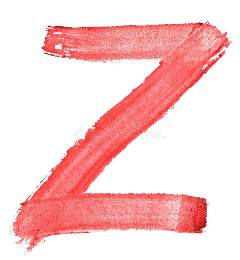 Bokstav Z - röd vattenfärg som målas av handen med hjälpen av en grov borste Tappningmålningar för design stock illustrationer