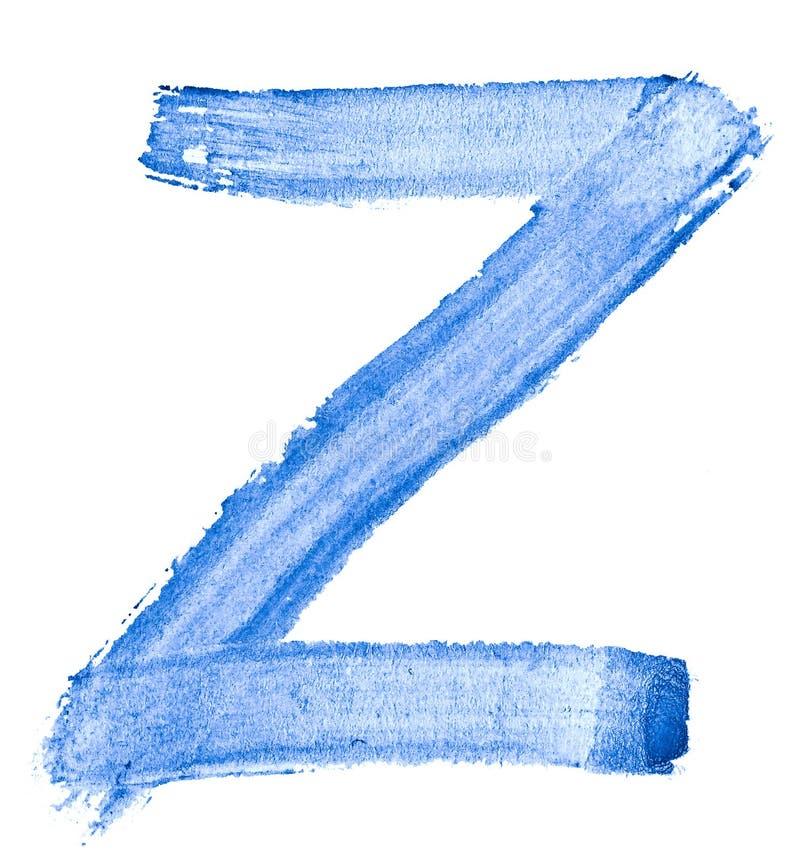 Bokstav Z - vattenfärg som målas av handen med hjälpen av en grov borste Tappningmålningar för design och garnering royaltyfri illustrationer