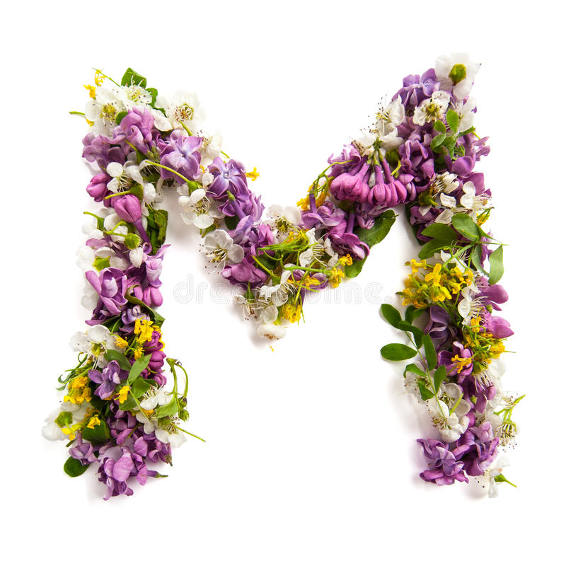 """Bokstaven """"M"""" gjorde av olika naturliga små blommor arkivbild"""