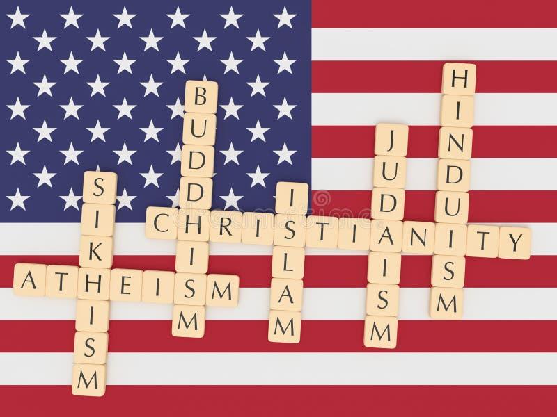 Bokstaven belägger med tegel kristendomen, islam, judendom, buddism, Hinduism, sikhismen, ateism med USA-flaggan, illustrationen  stock illustrationer