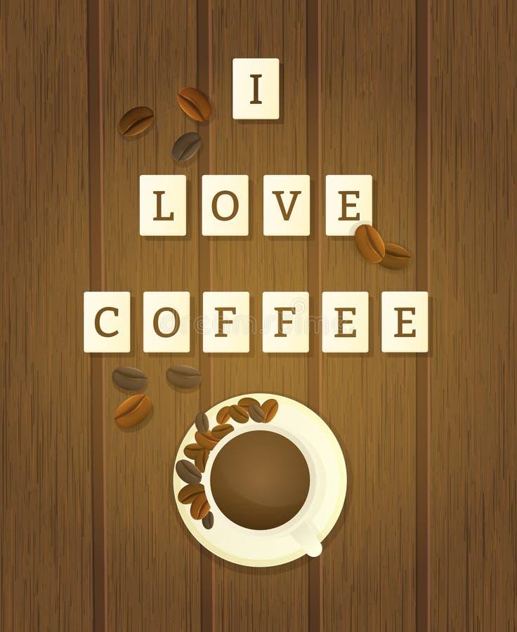 Bokstaven belägger med tegel stavning som jag älskar kaffe vektor illustrationer