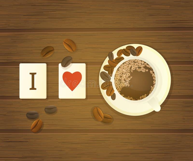 Bokstaven belägger med tegel stavning som jag älskar kaffe royaltyfri illustrationer