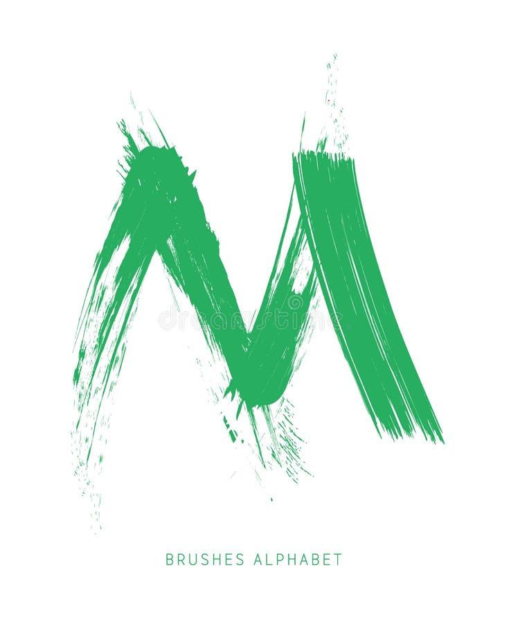 Bokstaven M av det engelska alfabetet som skapas med borsten vektor illustrationer