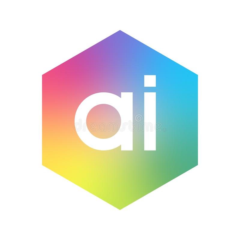 BokstavsAI-logo i sexhörningsform och färgrik bakgrund, design för logo för bokstavskombination för affär och företag vektor illustrationer