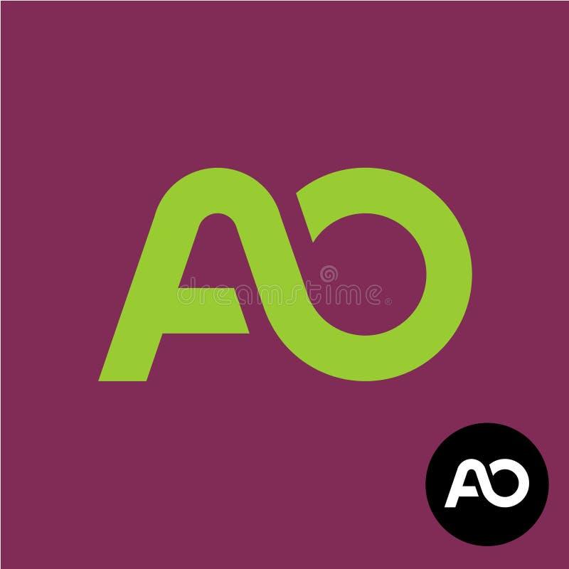 BokstavsAO-monogram A- och nolla-logo vektor illustrationer