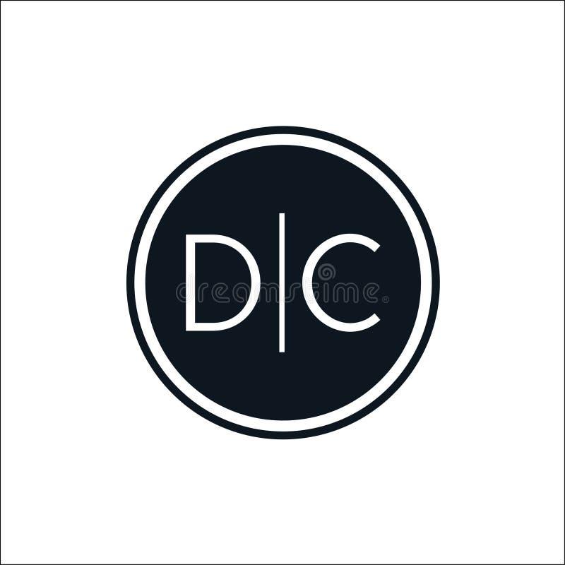 BokstavsDC märker med sina initialer den fasta mallen för cirkellogovektorn royaltyfri illustrationer