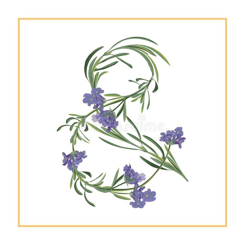 Bokstavset-teckenmonogram Retro teckenalfabet med lavendelblommainitial stock illustrationer