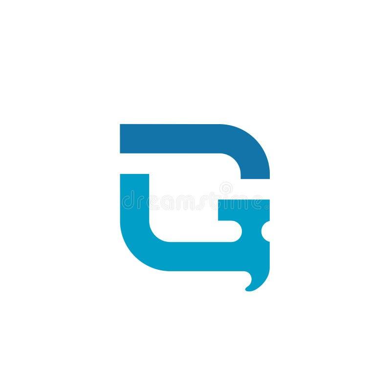 BokstavsG med det hammare-, för reparationshjälpmedel symbol, service- och underhållsdesignbegreppet - vektor stock illustrationer