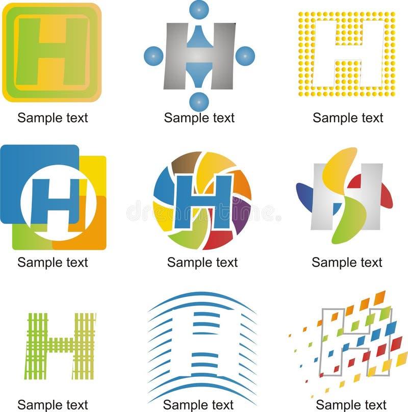 BokstavsH-logo stock illustrationer