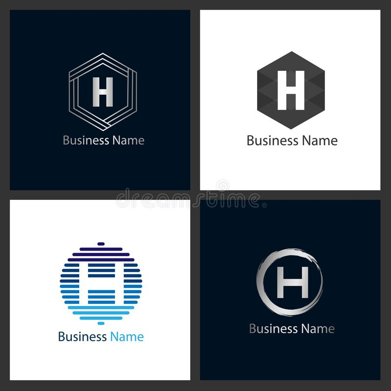BokstavsH Logo Design Set vektor illustrationer