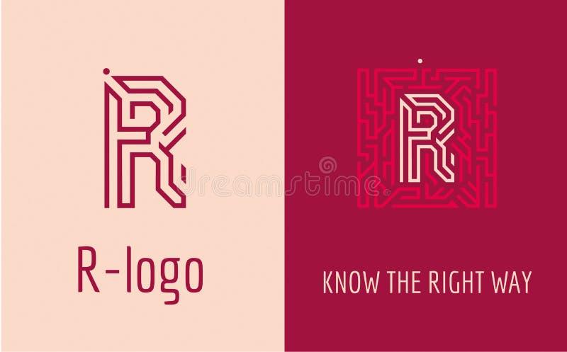 Bokstavslabyrint för tryck R royaltyfri illustrationer