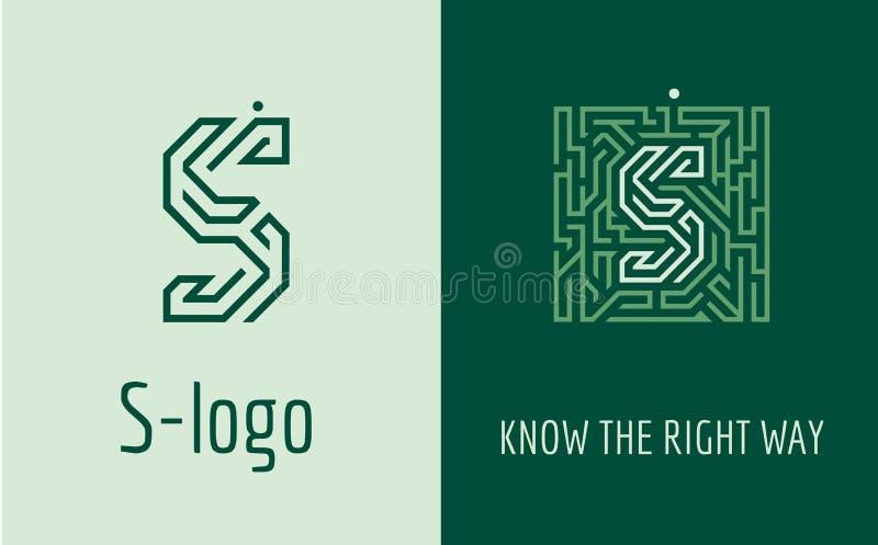 Bokstavslabyrint för tryck S vektor illustrationer
