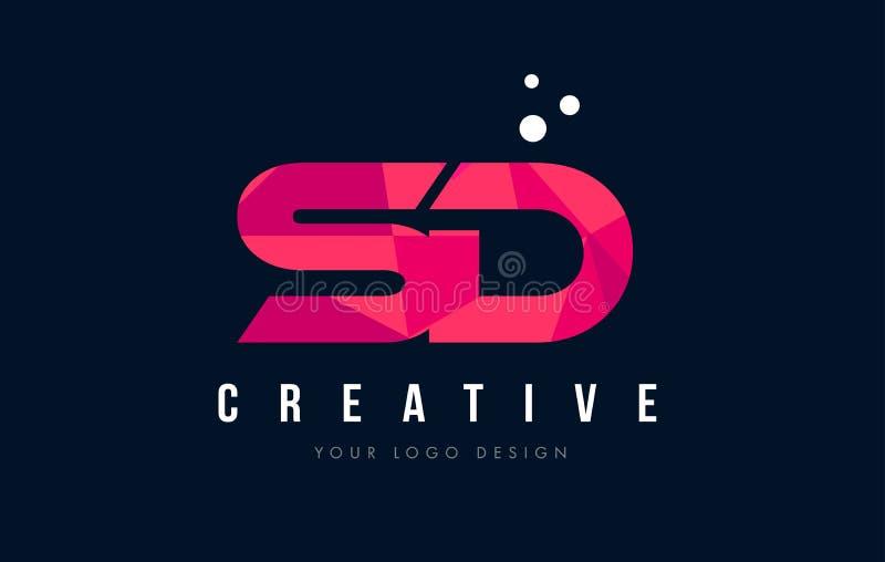 Bokstavslogo för SD S D med purpurfärgat lågt Poly rosa triangelbegrepp stock illustrationer