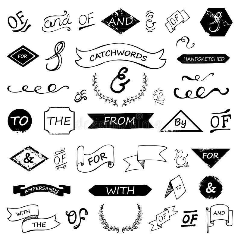 Bokstavsmarkerade et-tecken och slagordar för hand royaltyfri illustrationer