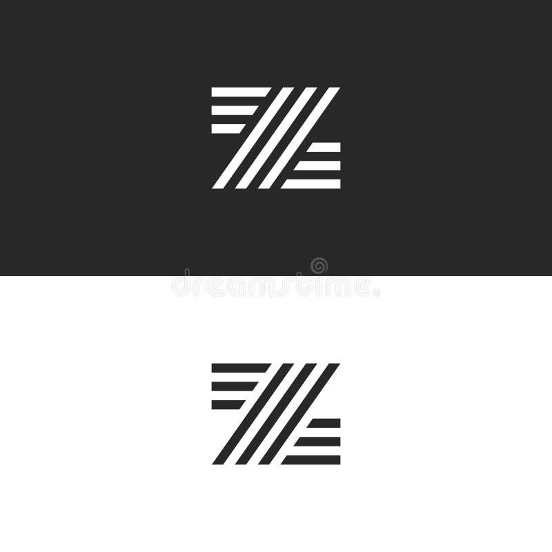 Bokstavsmonogram för logo Z Minsta mall för design för stilhipsteremblem Identitet för initial ZZZ för typografiaffärskort stock illustrationer