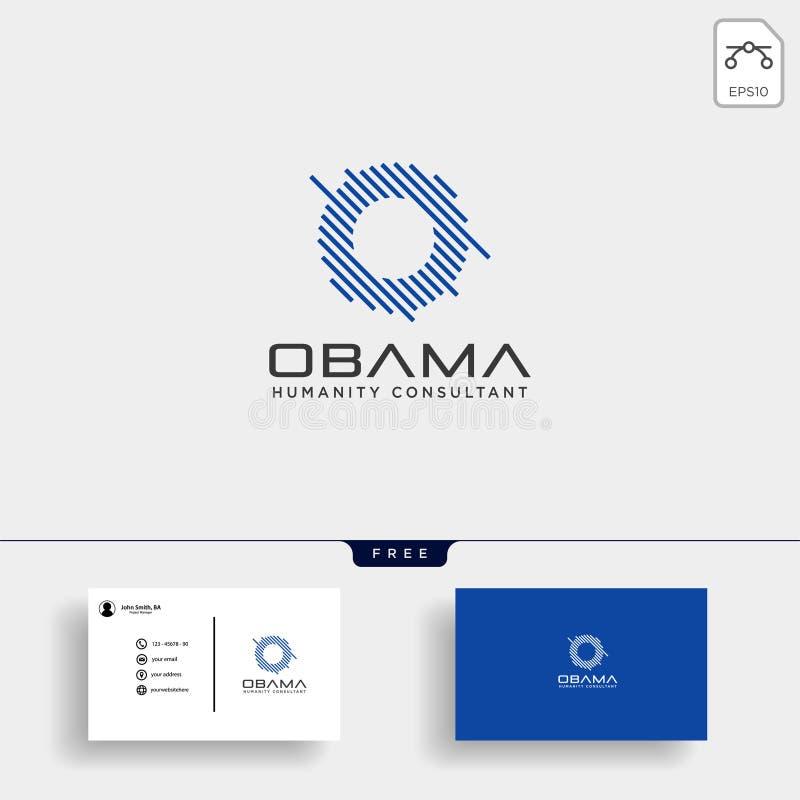 Bokstavsnolla-affär att konsultera logomallen med affärskortet stock illustrationer