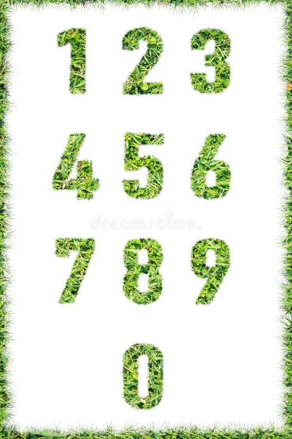 Bokstavsnummer som göras isolerat fastställt grönt gräs arkivfoton